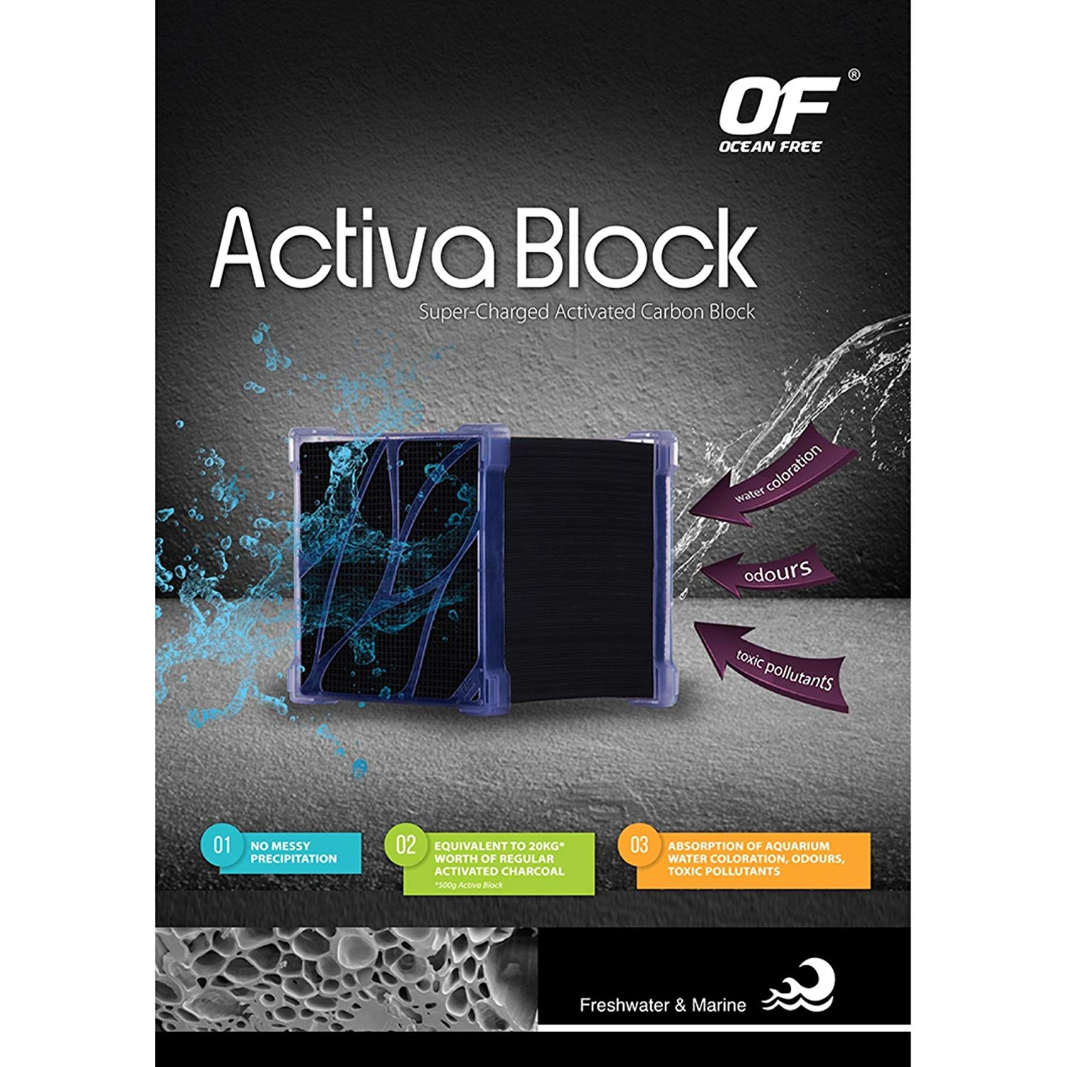 Ocean Free Activa Block Super Charged Activated Carbon 250g