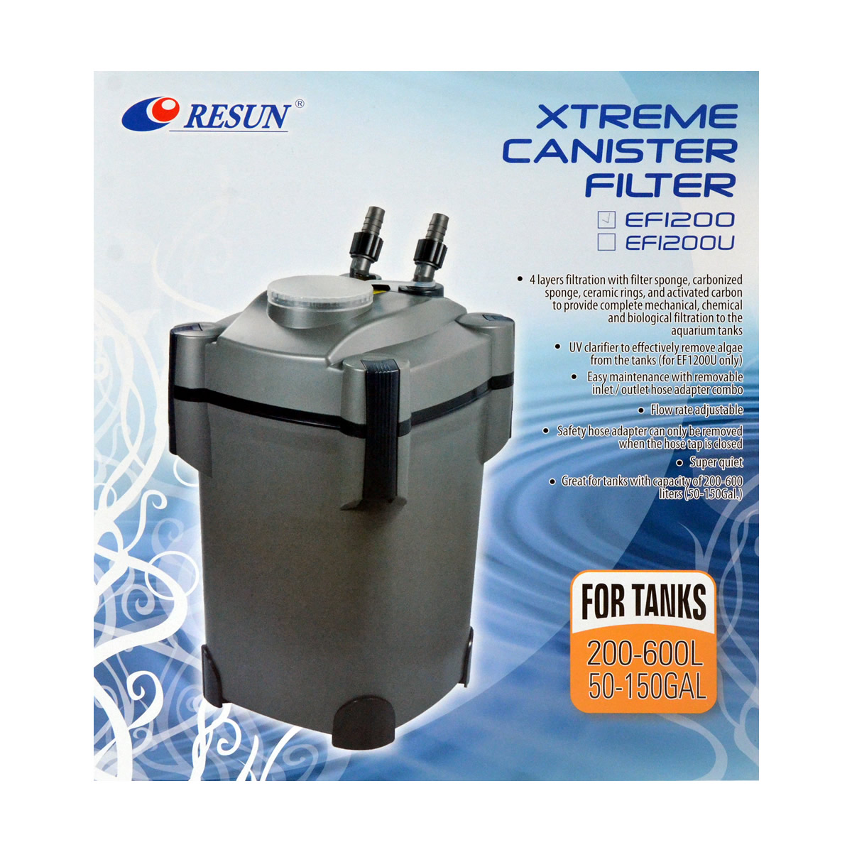 ReSun EF1200 Xtreme Canister Filter 30W 1200L/H 200-600L