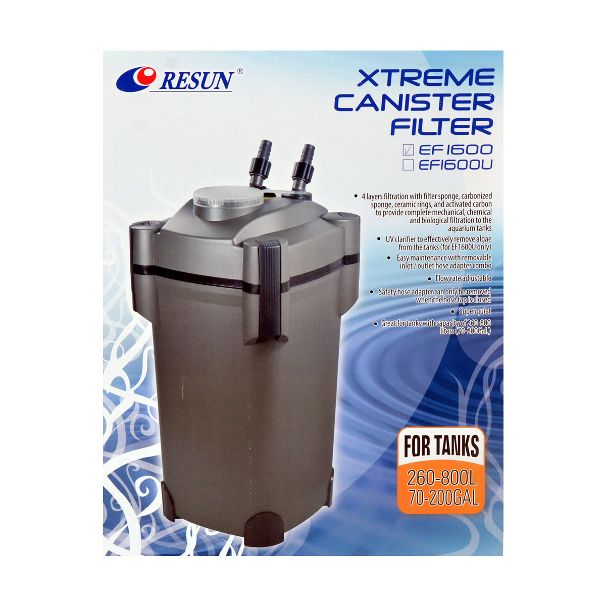 ReSun EF1600 Xtreme Canister Filter 35W 1600L/H 260~800L