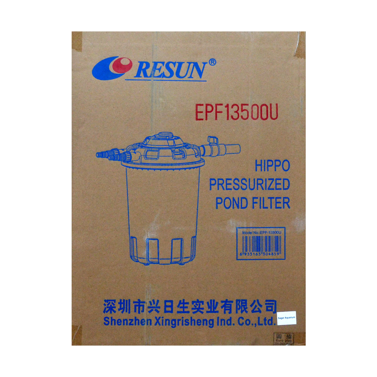 ReSun EPF13500U Hippo Pressurized Pond Filter With 24W UV 30L 18000-36000L