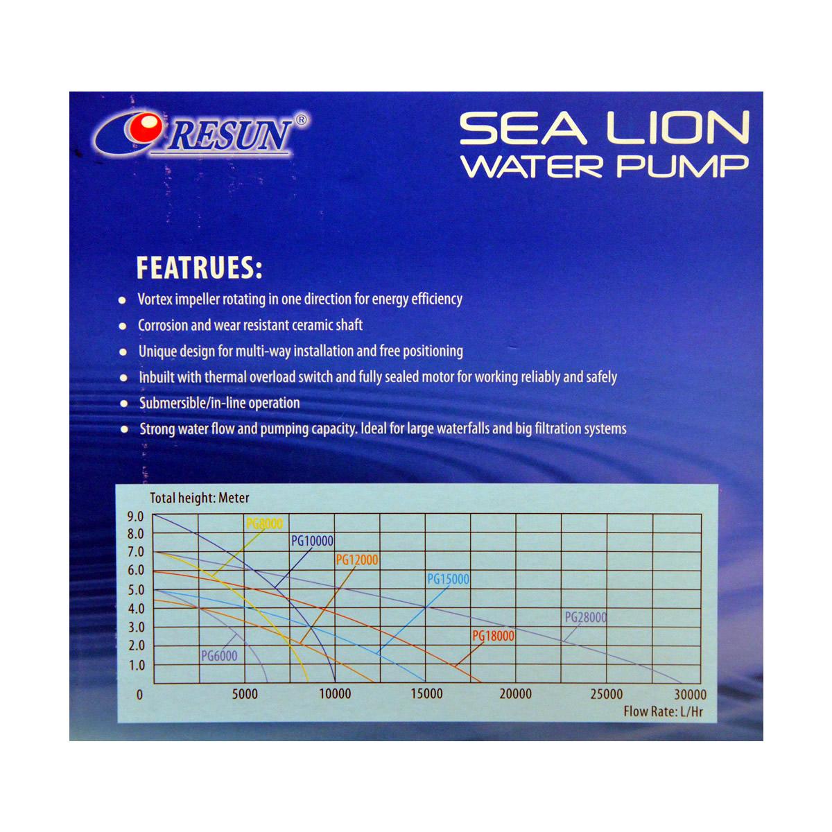 ReSun PG6000 Sea Lion Pond Circulation Water Pump 150W 6000L/H